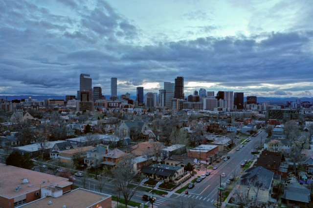 Scenic aerial photography of downtown Denver